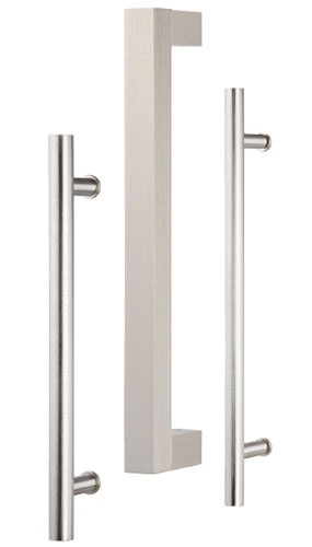These door handles range from traditional to transitional to modern in style. DH3 has completely squared corners, while DH4 is cylindrical, and DH5 features a heftier cylinder design. All are 12' long