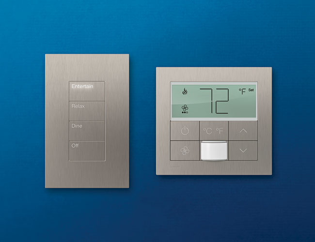 Upping the ante on guestroom controls, Lutron's myRoom system creates a slick, cohesive look using the manufacturer's own Palladiom QS keypad and thermostat to adjust light and temperature. The contro