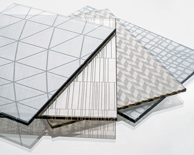 CARVART's new glass series features 12 patterns etched onto one or both sides of a panel. Ranging from hand-drawn lines to geometric chevrons, the designs can be specified at small or large scale, and