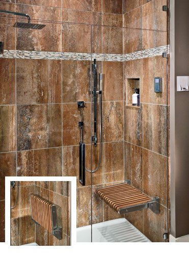 "Handcrafted and milled in the U.S. of durable teak and stainless steel, MTI's flip-up shower seat is also ADA-compliant (the ADA mounting height for the lowered seat is 17"" to 19&#82"