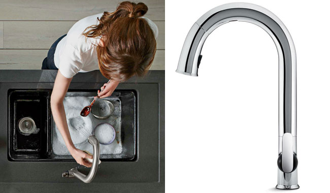Kohler's new touchless kitchen faucet uses a state-of-the-art sensor that responds in 20 milliseconds for consistent on/off operation. The technology does not require users to tap