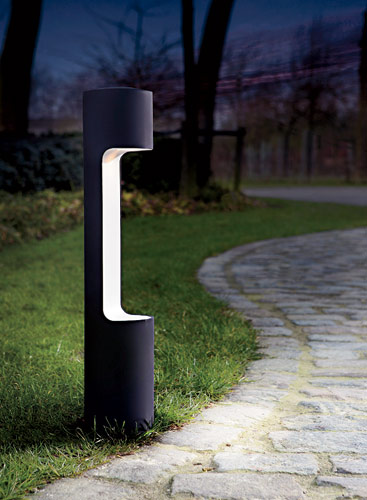 "Belgian architectural lighting company Modular Lighting Instruments introduces George, a path, garden, or terrace light defined by a 23½""-tall cylindrical body that appears to be carved"