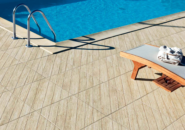 Tagina's Woodays porcelain tile offers high performance for both interior and exterior use, and mimics the look of wood grain–including oak, chestnut, and larch–making it an ideal alte