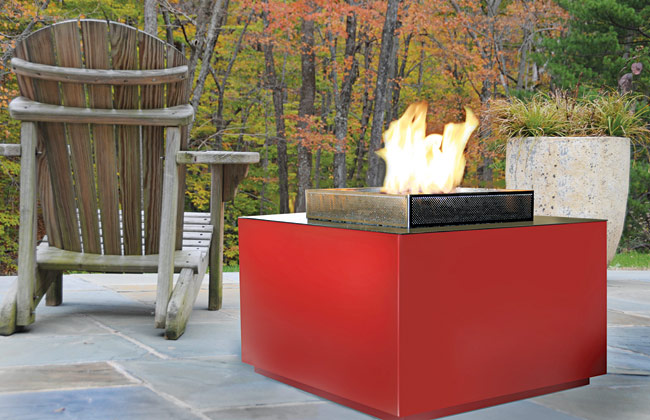 At once simple and sculptural, the pure geometric form of the Cube, from Spark Modern Fires, offers an ideal fire pit for minimalist outdoor settings–or serves as a secondary table surface when
