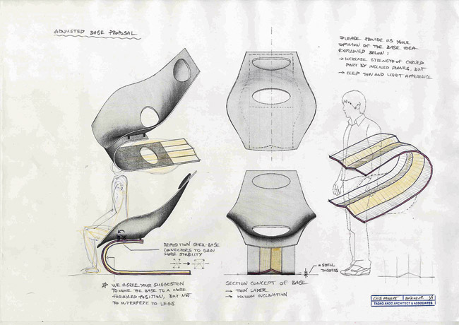 The architect's original design, with a contiguous seat and base, would have been difficult to produce. A study for his solution divides the seat and base for strength.