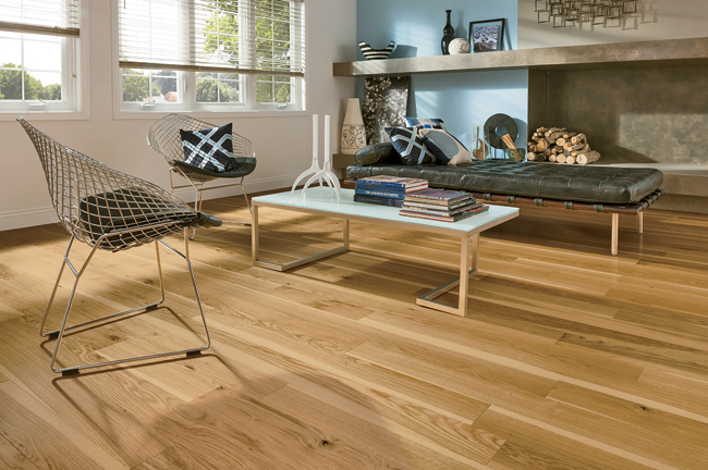 Geared toward the residential market, Midtown is an engineered-wood floor product that is manufactured by bonding together solid wood layers in a cross-ply construction over a high-density-fiberboard