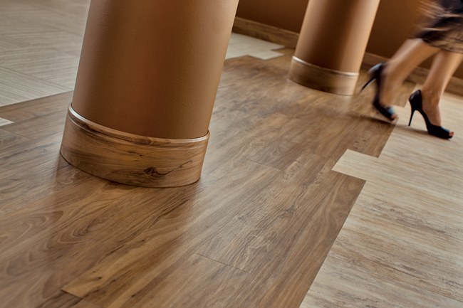 Ideal for high-traffic areas, I.D. Freedom is a resilient commercial flooring system that offers more than 90 SKUs'ranging from wood-grain to stone patterning'in plank or tile format in a variety of s