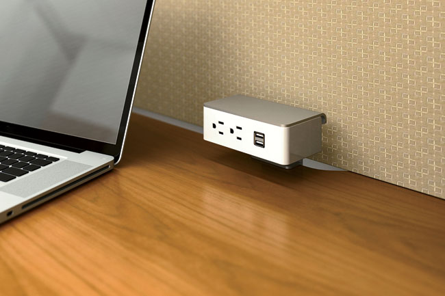Demonstrating that power strips need not be an eyesore, Group Dekko's new Powered by Pent series is an easy-to-install, sleek, block-shaped unit housing electrical and data access points. The outlets