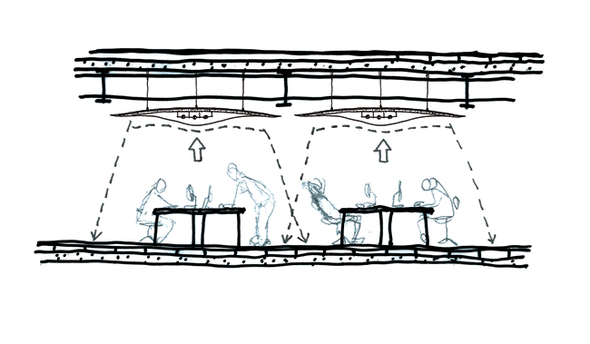 A sketch by Decq illustrates how the product's sound absorption and downlighting work.