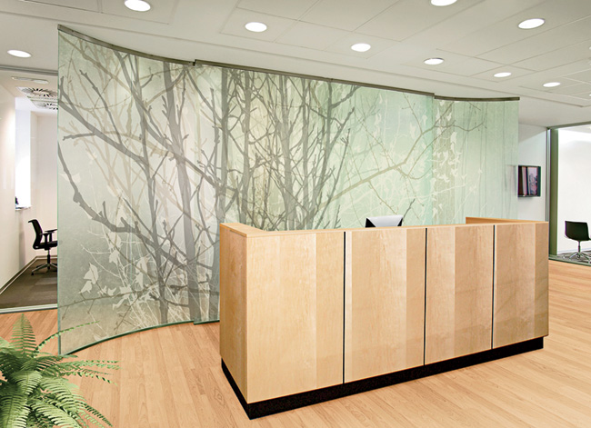 Galaxy + Level Design Collection Galaxy Glass & Stone www.galaxycustom.com Collaborating with wall-decor manufacturer 4walls, Galaxy Glass & Stone has expanded its offerings with new graphics that range from flocked patterns to nature motifs. The imagery can be scaled to different sizes and is encapsulated in glass for use as walls in office, hospitality, retail, health-care, institutional, and even residential settings. The designs come in opaque, transparent, translucent, or satin finishes. [Product Info: March 2015, # 215 ]