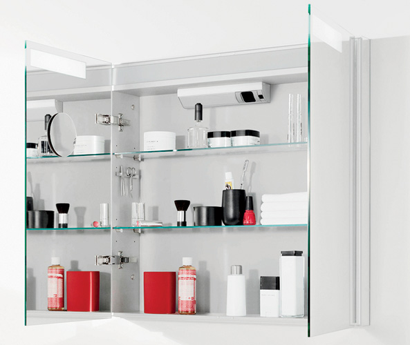 This popular Villeroy & Boch medicine-cabinet line now includes recessed and semi-recessed versions. The units feature an electrical outlet and switch, magnifying mirror, magnetic strip for holdin