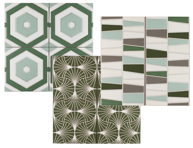 Newly added to Fireclay Tile's Handpainted series, this collection consists of 12 organic patterns that reflect Japan's landscapes and culture, from a repeating fan pattern and wavelike allusions to m