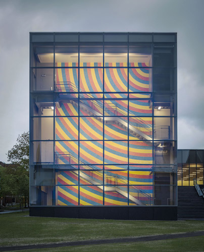 East facade, with view of Sol LeWitt's <em>Wall Drawing #559</em> (conceived 1996, redrawn, 2013) &copy;The LeWitt Estate / Artists Rights Society (ARS).