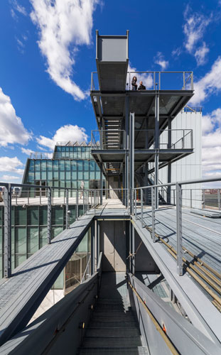 View of the outdoor stairs and the High Line.