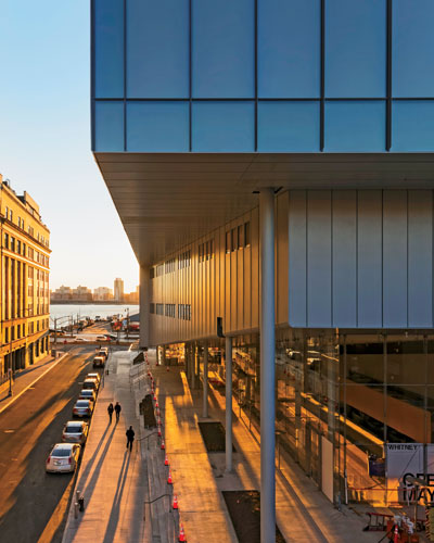 A grand cantilever on Gansevoort Street protects the main entry and the wide plaza that Piano calls the largo.