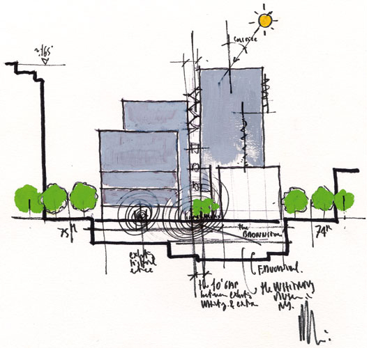 Renzo Piano's sketch of his unrealized proposal to add onto the Whitney's Marcel Breuer building on Madison Avenue.