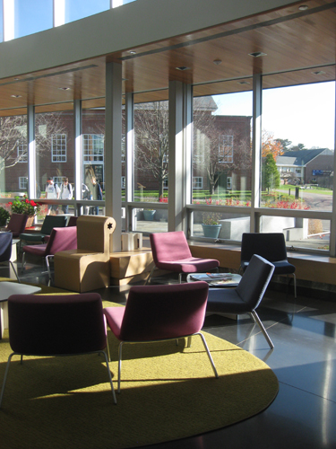 A view out from the student lounge.