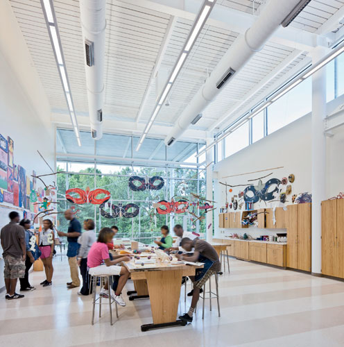 The sense of lightness carries into spaces for instruction, including a visual-arts classroom.