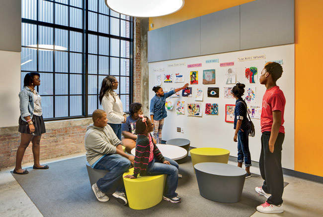 Presently populated by 350 sixth-through ninth-grade students, the Baltimore Design School will eventually serve 670 students through 12th grade. To create an environment in which they would t