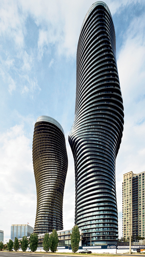 The 56-story 'Marilyn' tower (foreground) and its slightly shorter sibling, both designed by Beijing-based MAD, contrast sharply with their more ordinary neighbors.