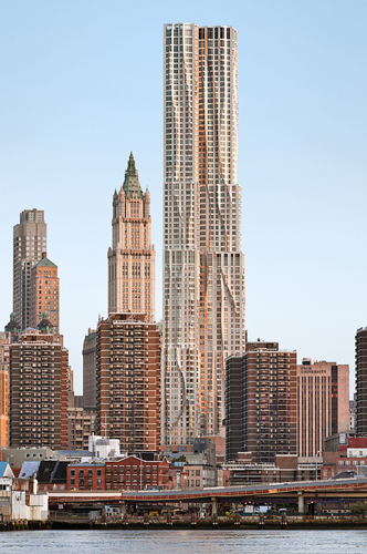8 Spruce Street's ripples contrast with Cass Gilbert's Woolworth Building (1913).