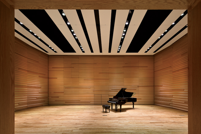 Likewise, in Benzaquen Hall ' sized for smaller chamber ensembles ' the architects concealed a complex cacophony of acoustic trappings with custom-hued, sound-transparent stretch scrim, inset with rib