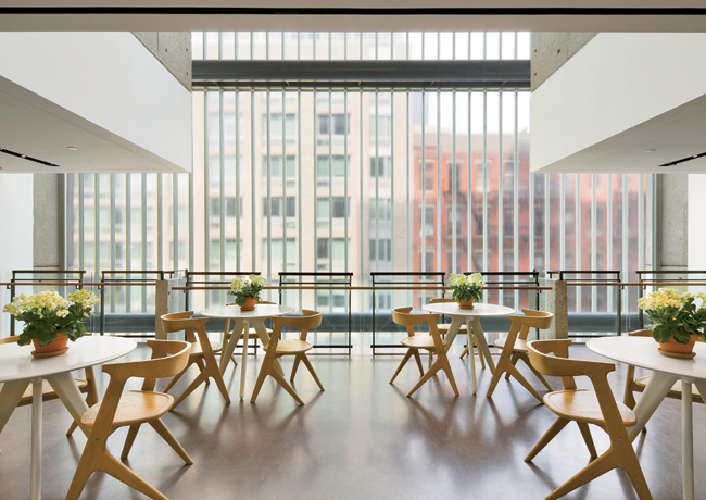 H3 Hardy Collaboration created a series of stylish and comfortable meeting/lounge spaces throughout the DiMenna Center, such as the Grossman Cafe Lounge illuminated by abundant north light from the bu
