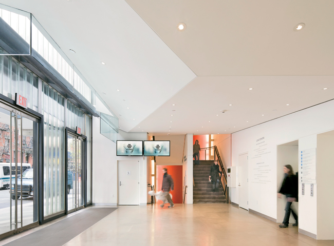 The building's common lobby provides access to both the Baryshnikov Arts Center and the Jerome Robbins Theater by elevator, while musicians can reach the DiMenna Center for Classical Music via elevato