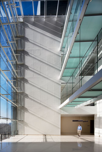 Glass bridges span the atrium joining Milstein Hospital with the Irving Pavilion's offices.