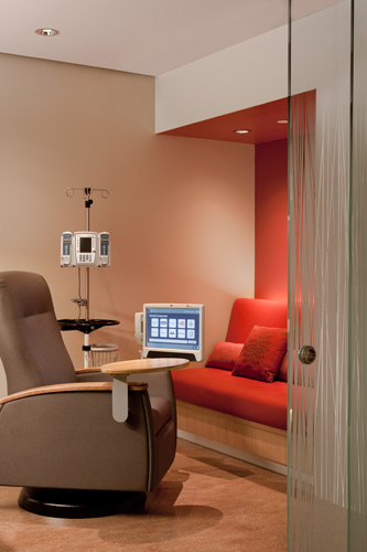 Patients can bring their IV poles out to communal spaces, or retreat into the privacy of their comfortable treatment pods.