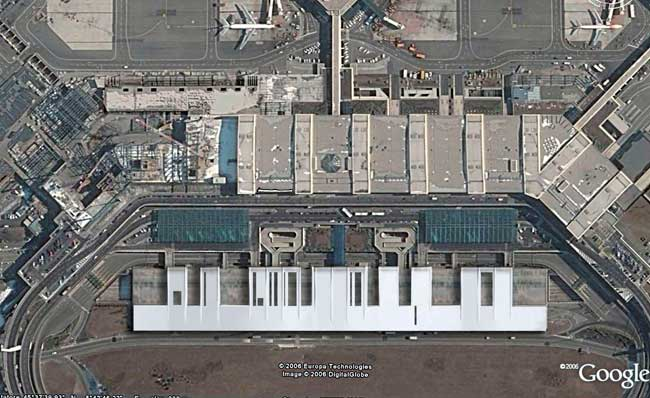 A satellite view illustrates the building's complete outer wrapping and bar-code-like form.