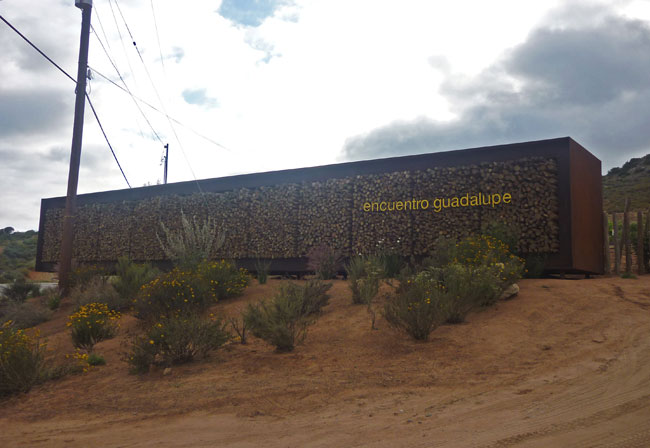 The entrance to Hotel End'mico. Encuentro Guadalupe refers to the name of the entire development, which includes the hotel, a wine-production facility, and, eventually, housing.