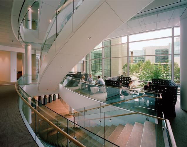 To encourage chance encounters and collaboration, each floor has open spaces to meet, such as this 'hub' near the stairs.