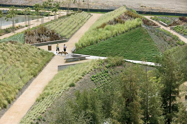 Working with landscape architect James Burnett, Maltzan used berms, paths, and different plantings to create a 'constructed' nature.