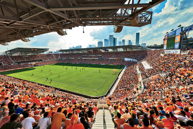 The venue's open-air pitch affords fans views of Houston's skyline to the northwest.