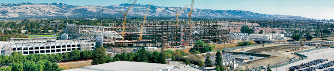 Steel erection began in late July, and the frame's topping out is expected this month.