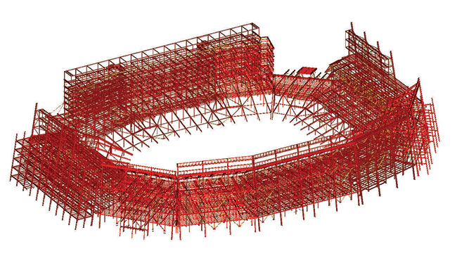 The stadium's structural system includes buckling-restrained braces. It uses less steel than an equivalent moment frame and weighs significantly less than an equivalent shear-wall system.
