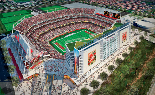 The new Santa Clara Stadium will have 68,500 permanent seats and will be able to expand to 75,000 seats for the Super Bowl. A nine-story tower capped with a rooftop terrace will house the venue's 165