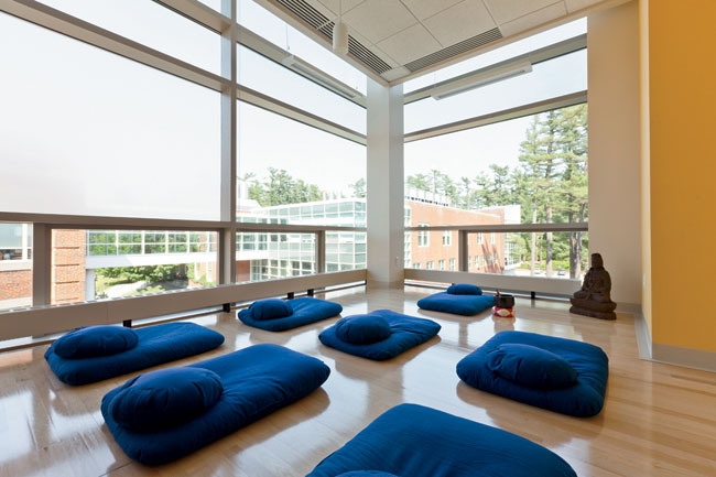 In the top floor's yoga room, clear and translucent glass panels cut glare while allowing views out.