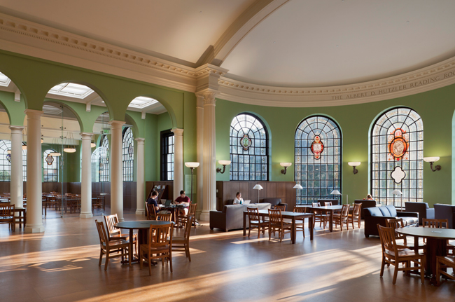 The historic reading room now has perimeter millwork that helps disguise mechanical systems.