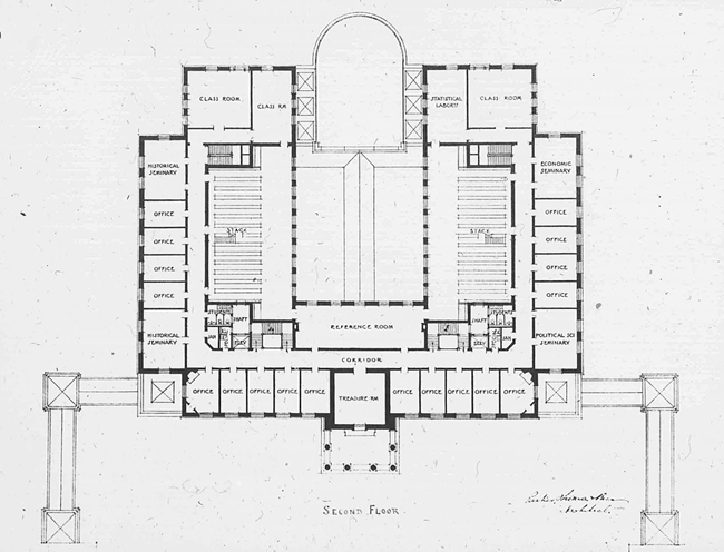 Gilman's original configuration included a central light well bisected by a bridgelike passage and 25,000 square feet of library stacks.