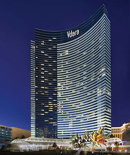 With 3000K metal-halide spotlights placed on a pool deck and podium, designers lit the facades of the Vdara Hotel to accentuate recessed spandrel panels. A variety of warmer sources were used to illum