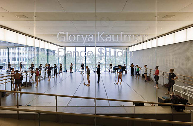 The new dance studio has clerestory-like backlit panels.