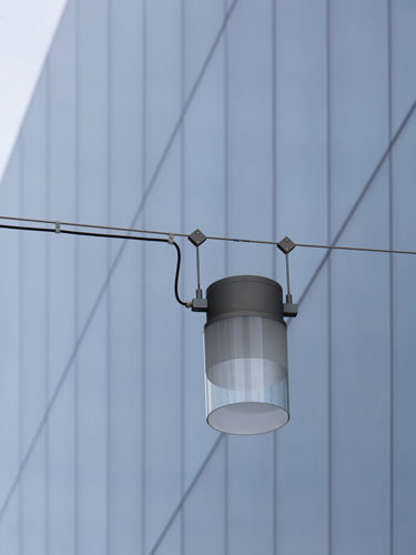 A detailed view of a rope-mounted, cable-hung pendant luminaire.
