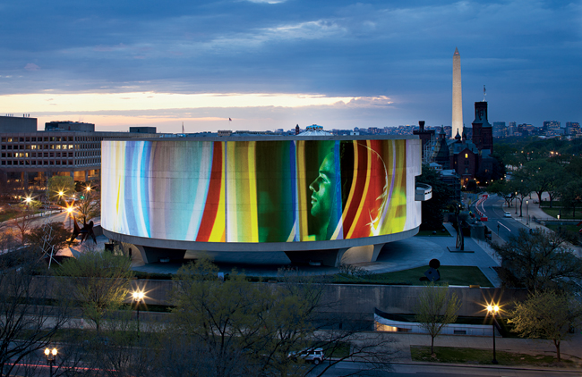 Eleven projectors surround the Hirshhorn facade, carefully positioned to avoid trees and tall sculptures on the museum�s grounds. Song 1