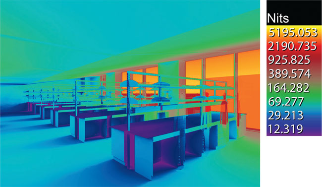Designers arrived at the installed lighting scheme after simulating the effect of daylight coming through the laboratory windows at various times of the day and year. The simulations included studies