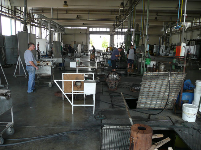 The glassblowing facility in Italy where the fixtures are made.