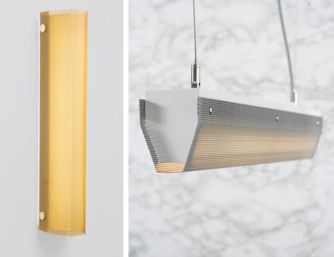 Straddling a line between elegant and industrial, the Branch lighting collection designed by Brooklyn, New York'based studio Rich Brilliant Willing features a perforated-steel shell, powder-coated in