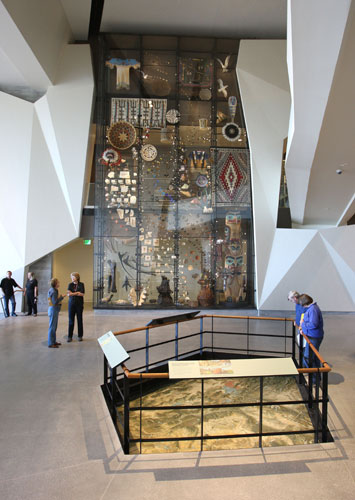 The canyon includes a floor-to-ceiling case displaying 600 representative objects from the museum's collection and a topographical map of the Intermountain Region.