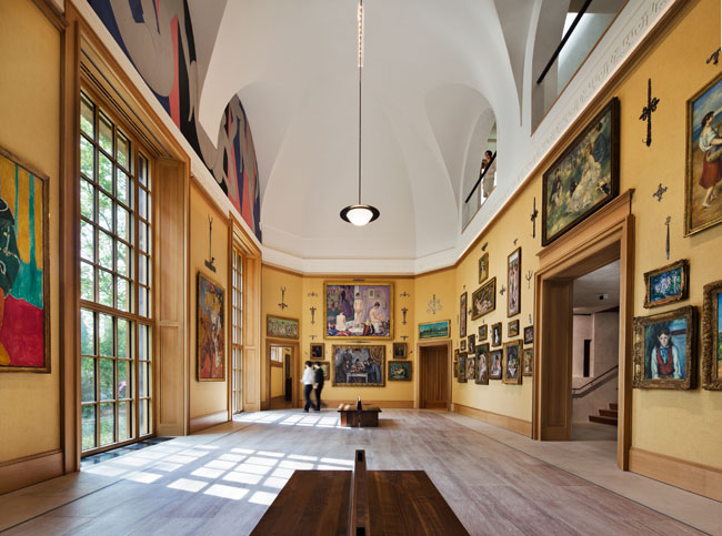On the first floor of the wing containing the Barnes collection, the main hall's coves feature Henri Matisse's 'The Dance' murals. Williams and Tsien kept the proportions, scale, and placement of the